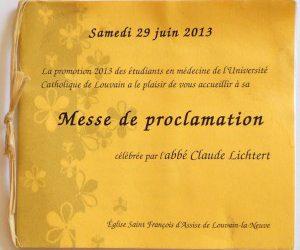Messe de proclamation